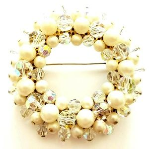 Alice Caviness Crystal Faux Pearl Wreath Brooch